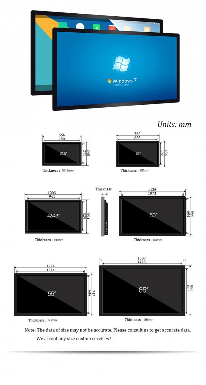 32 Inch White Edge Wall Mounted Digital Signage Touch Screen Android 1920 X 1080 Resolution