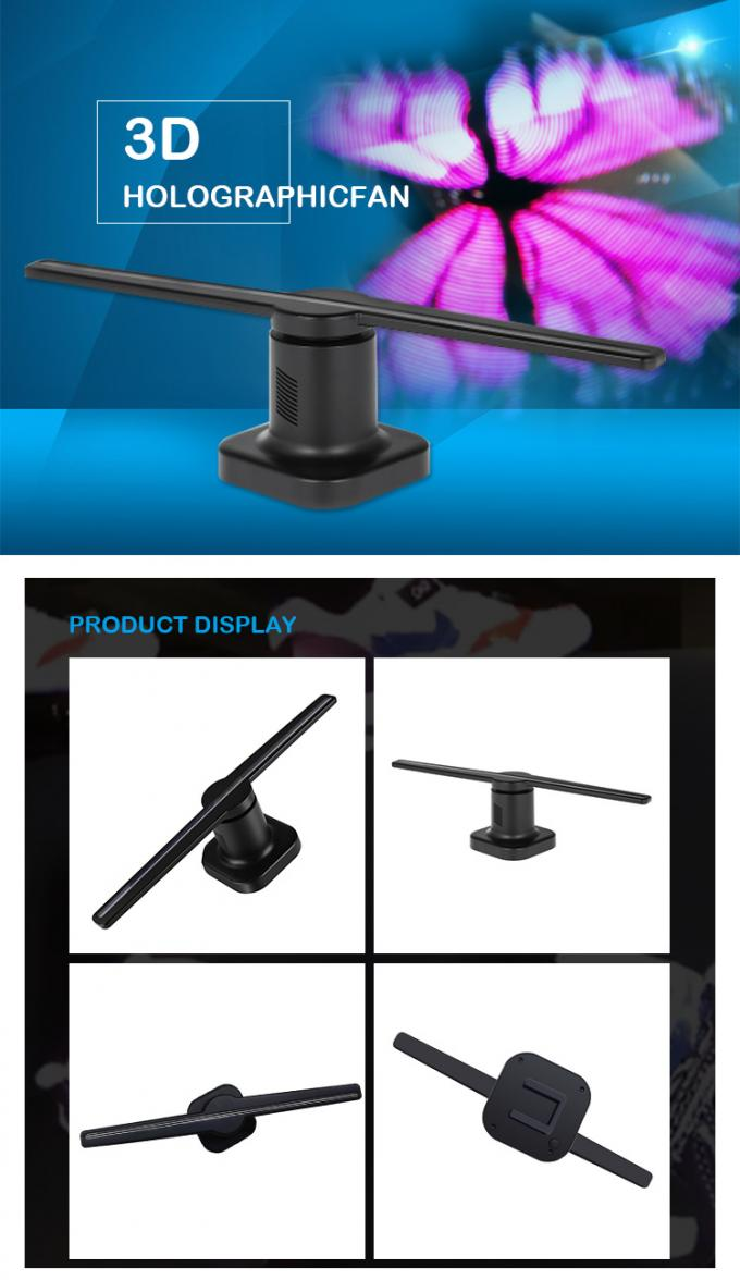 Glass Material Holographic 3d Display System LED Fan 65cm For Advertising