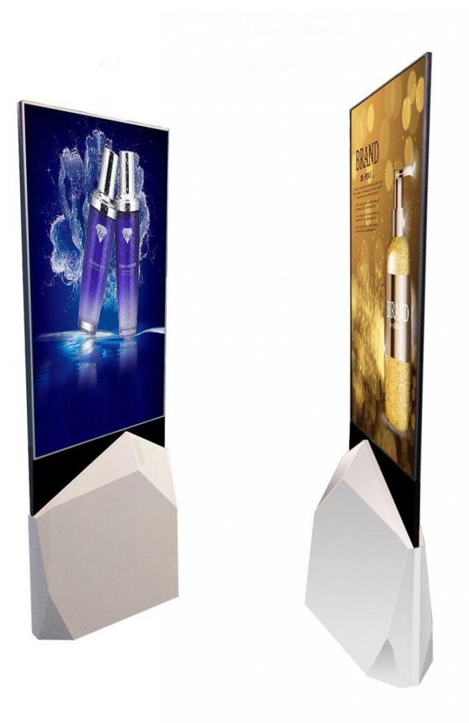 "55""Indoor QLED floorstand ultrathin moveable  digital signage poster monitor Android double side lcd Screen kiosk"